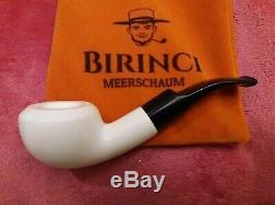 1A Med. Block Meerschaum Pfeife glatt pipe Akrylmunstück 9mm Meerschaumpfeife