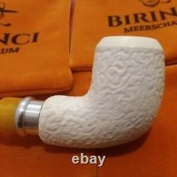 1A Medium Block Meerschaum Pfeife pipe Akryl Aluminium Ring 9mm Meerschaumpfeife