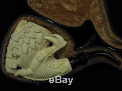 2 Headed Eagle & Reverse Dragon Claw block Meerschaum Pipe Eskisehir Turkey 0718