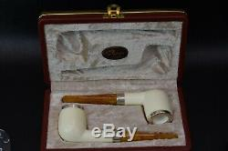 2 Tekin Smooth Silver Billiard Pipes new-block Meerschaum Handmade W Case#541