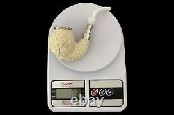 925 Silver ORNATE Apple Pipe By YUNAR New Block Meerschaum Handmade W Case#1182