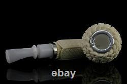 925 Silver ORNATE Bulldog Pipe By YUNAR New Block Meerschaum Handmade W Case#87