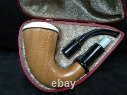 9mm Filtered Calabash Pipe Large Size Mahogany& Block Meerschaum Sherlock #l115