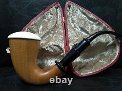 9mm Filtered Calabash Pipe Large Size Mahogany& Block Meerschaum Sherlock #l415