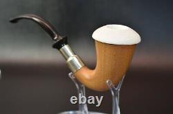 African Mahogany Wood Sherlock Pipe W Block Meerschaum Cap Handmade W Case#1
