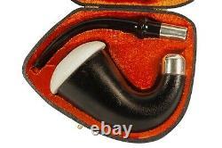 African Mahogany Wood Sherlock Pipe W Block Meerschaum Cap Handmade W Case#150