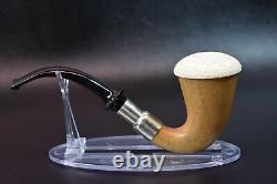 African Mahogany Wood Sherlock Pipe W Block Meerschaum Cap Handmade W Case&641