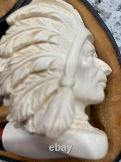 Altinay Block Meerschaum Smoke Pipe Native American Head Indian Chief brand New