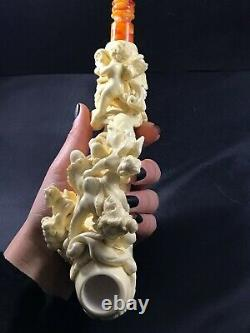 Angel of Death meerschaum pipe, Smoking pipe, Hand Carved pipe, Block Meerschaum