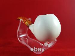 Apple Smooth Bent Meerschaum Pipes, The Block Meerschaum, Hand Carved Meerschaum