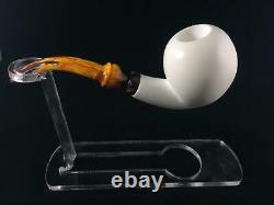 Apple Smooth Half Bent Meerschaum Pipe, Block Meerschaum, Unsmoked Pipe