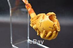 Baby Dragon Birth in Hand Pipe BY SADIK YANIK Block Meerschaum-NEW W CASE#370