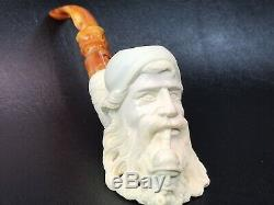Baglan Old Man Smoking Himself Pipe New Block Meerschaum W Case+Stand#947