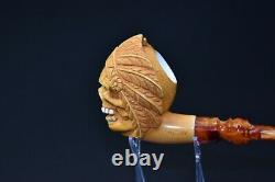 Beautifully Carved Skull Indian Pipe By Altay Block Meerschaum-NEW With Case#960