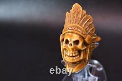 Beautifully Carved Skull Indian Pipe By Altay Block Meerschaum-NEW With Case1212