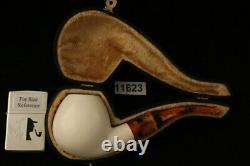 Big Apple Block Meerschaum Pipe with custom CASE 11623
