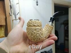 Block Meerschaum Hard Detail Reverse Calabash Pipe