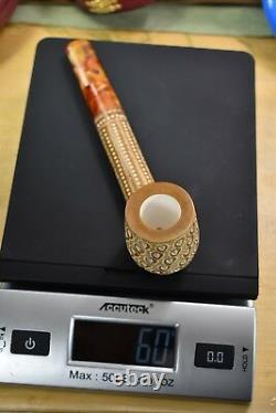 CANADIAN PIPE BLOCK MEERSCHAUM-NEW-HAND CARVED tamper+stand#407 W Case
