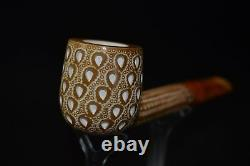 CANADIAN PIPE BLOCK MEERSCHAUM-NEW-HAND CARVED tamper+stand#513W Case
