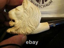 CAO Block Meerschaum LION pipe Hand Made in Turkey With Case Stock # MB14