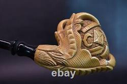 CLAW PIPE W Masonic Emblems By H EGE-BLOCK MEERSCHAUM-NEW-HANDCARVED W Case#206