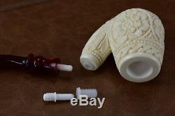 CUMHUR Ornate Pipe BLOCK MEERSCHAUM-NEW-HAND CARVED W Case&Tamper#224