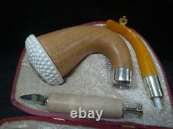 Calabash Pipe & Block Meerschaum Bowl & Silver Spigot & Tamper Large Size #034