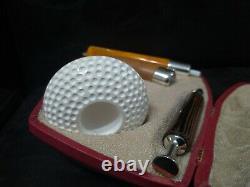 Calabash Pipe & Block Meerschaum Bowl & Silver Spigot & Tamper Large Size #044