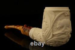 California Bear Hand Carved Block Meerschaum Pipe with custom case 12663