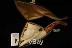 Captain Sailor Block Meerschaum Pipe Carved by I. Baglan with CASE 10803