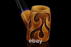Cherrywood Pipe By EGE With flames New Block Meerschaum Handmade W Case#1514