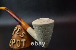 Churchwarden Pickaxe Pipe By Tekin Block MEERSCHAUM-NEW-HAND CARVED W Case#493