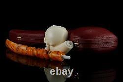 Churchwarden Skull Pipe By Koray New Block Meerschaum Handmade W Case#1211