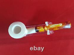 Classic Calabash Meerschaum Pipe, The Block Meerschaum, Hand Carved Meerschaum