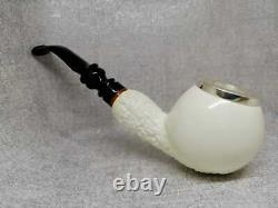 Classic Silver Meerschaum Pipe, The Best Block Meerschaum, Hand Carved Pipe