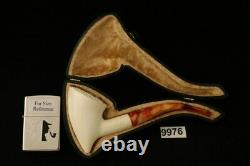 Cone Hand Carved Block Meerschaum Pipe with a fitted CASE 9976