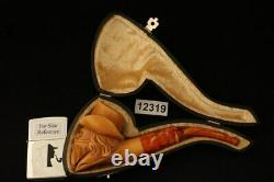 Cowboy Skull Hand Carved Block Meerschaum Pipe with custom case 12319