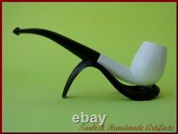 DELUXE Block Meerschaum Smoking Tobacco Pipe Pipa Pfeife With CASE AGV-1316