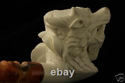 DRAGON Head Hand Carved Block Meerschaum Pipe in a fitted CASE 4755 New