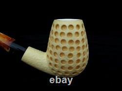 Deep Lattice Bent Billiard Block Meerschaum Pipe Yellow color Big Bowl Gift 7222
