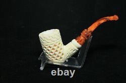 Deep Lattice Bent Stem Meerschaum Pipe, Unsmoked Pipe, Block Meerschaum