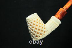 Deep Lattice Billiard Meerschaum Pipe, Block Meerschaum, Unsmoked Meerschaum