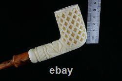 Deep Lattice Billiard Meerschaum Pipe, The Best Block Meerschaum, Unsmoked Pipe