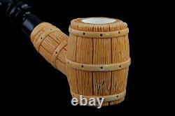 Deluxe Barrel Pipe BLOCK MEERSCHAUM-NEW-HAND CARVED W Case#738
