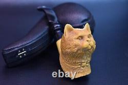 Deluxe Cat Pipe By KENAN new-block Meerschaum Handmade W Case#635