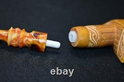 Deluxe Chinese Dragon W Axe Pipe Block Meerschaum-NEW W CASE#452