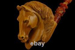 Deluxe Horse Pipe By KENAN new-block Meerschaum Handmade W Case#69