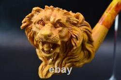 Deluxe Lion Empossed Pipe By SADIK YANIK new-block Meerschaum W Case#176