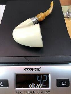 Deluxe Smooth Bent Dublin Pipe By Tekin-new-block Meerschaum Handmade W Case#787