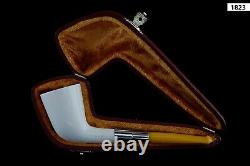 Deluxe Smooth Dublin CUTTY Pipe BLOCK MEERSCHAUM-NEW-HAND CARVED W Case#991